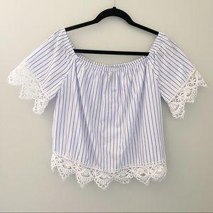 Streetwear Society Striped/Lace Crop Top - Size L